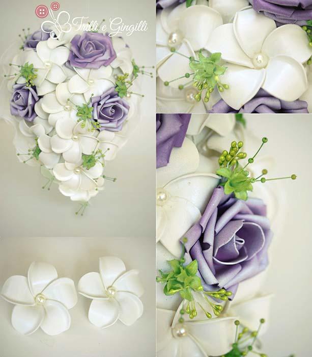 bouquet sposa bianco lilla verde cascata