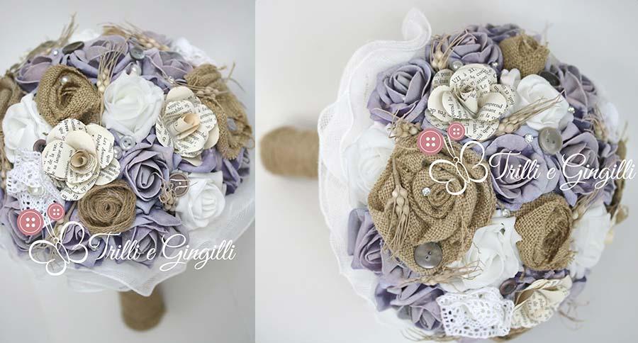 bouquet sposa country lilla bianco