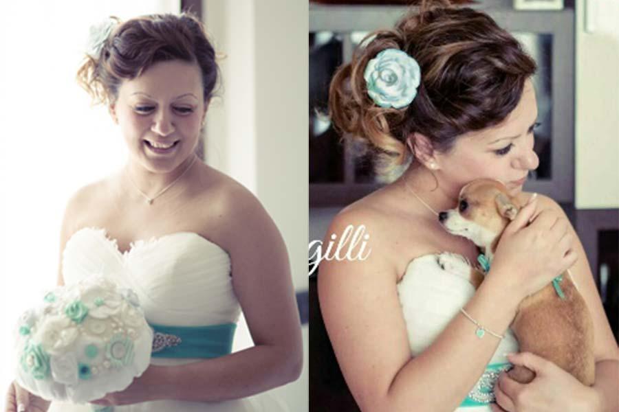 sposa con cane e bouquet matrimonio tiffany