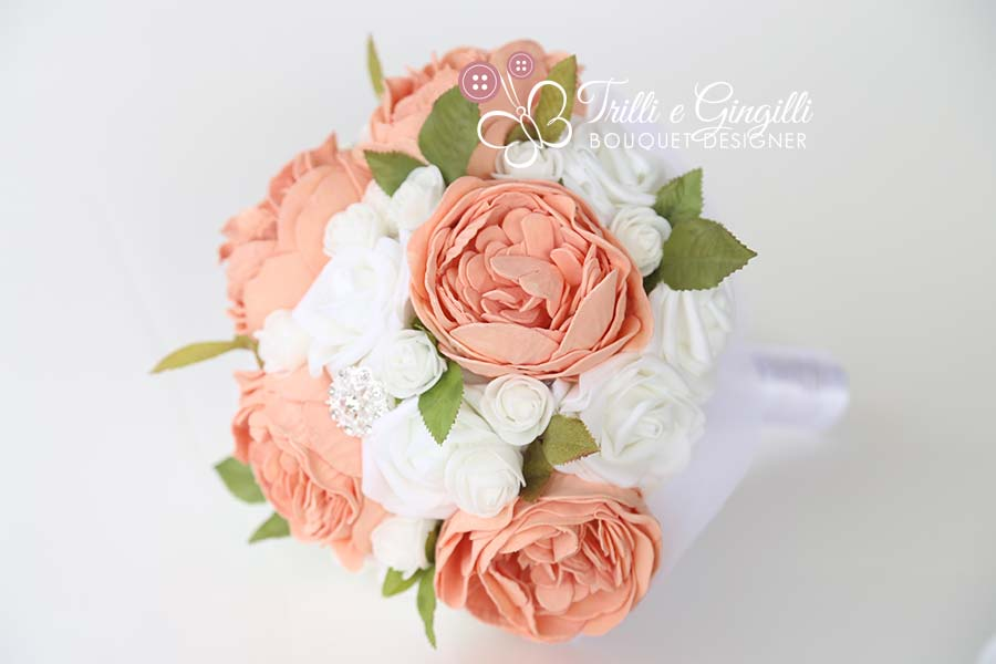 bouquet matrimonio civile boho chic peonie rose pesca
