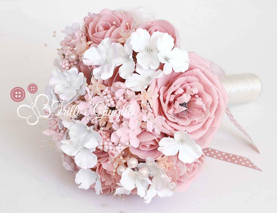 bouquet peonie ortensie rosa cipria antico
