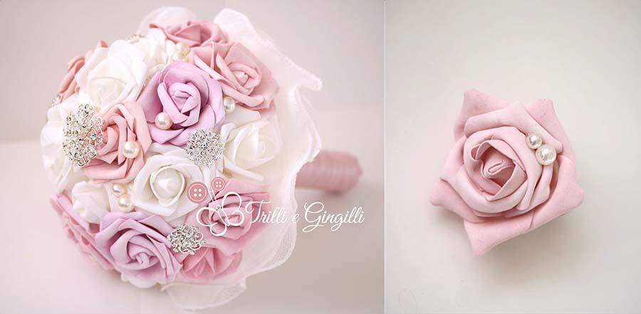 bouquet rosa antico e bianco