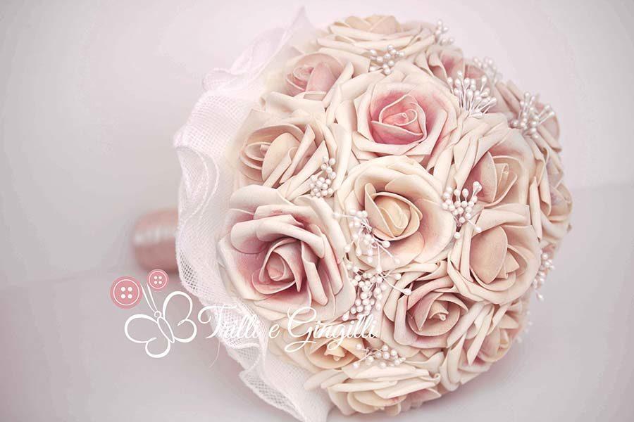 bouquet rosa antico con perle