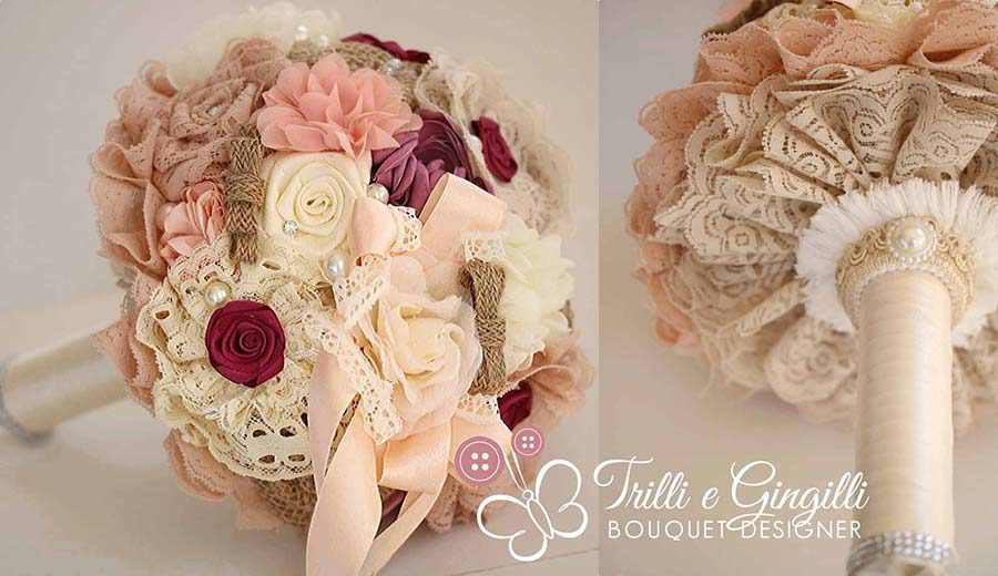 bouquet shabby chic rosa e beige