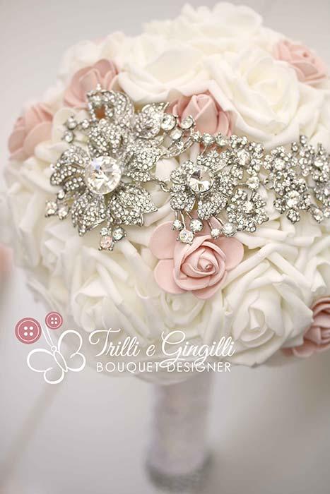 bouquet sposa shabby chic gioiello