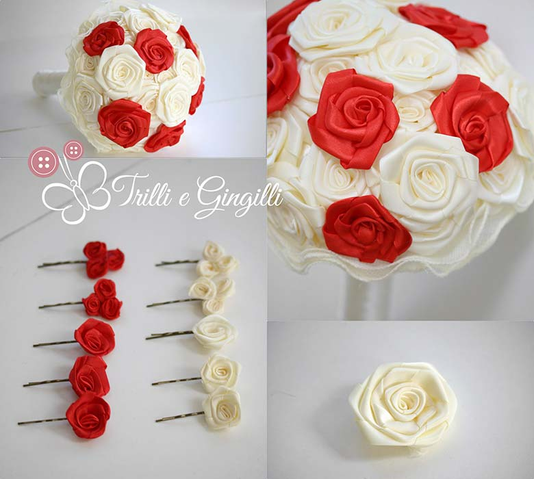 bouquet rose rosse bianche stoffa