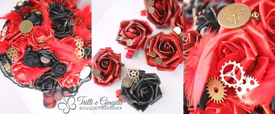 bouquet rose rosse nere steam punk