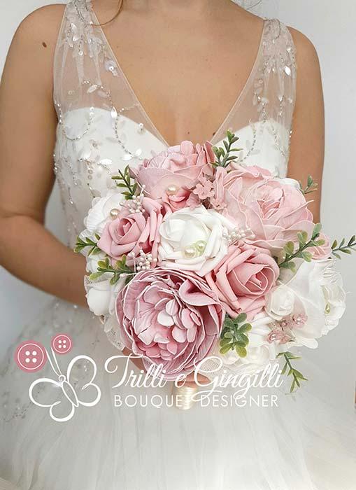 sposa boho chic bouquet rosa