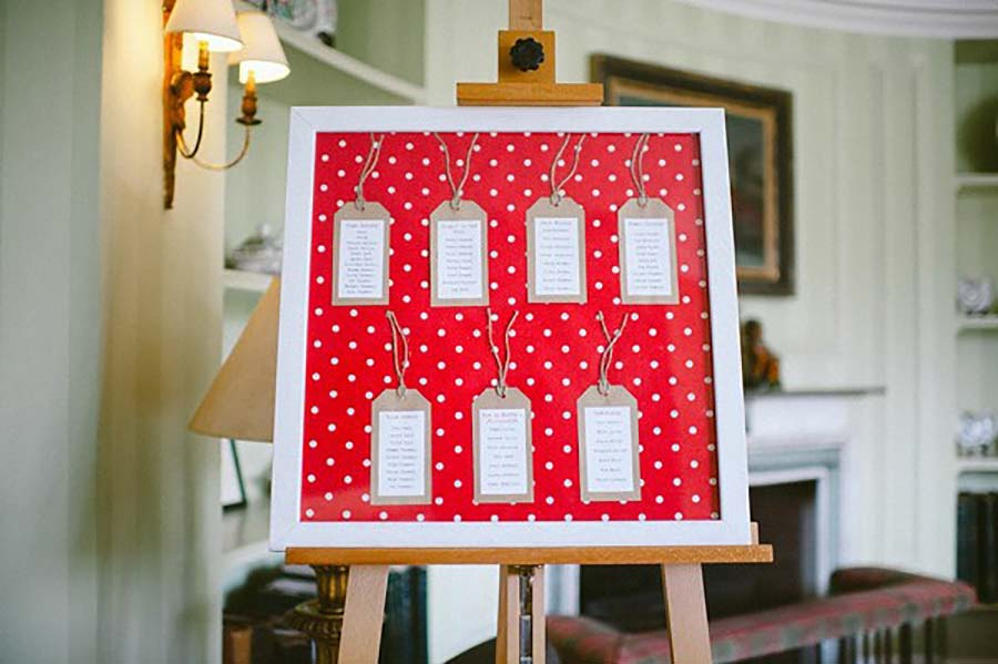 Tableau mariage rosso a pois