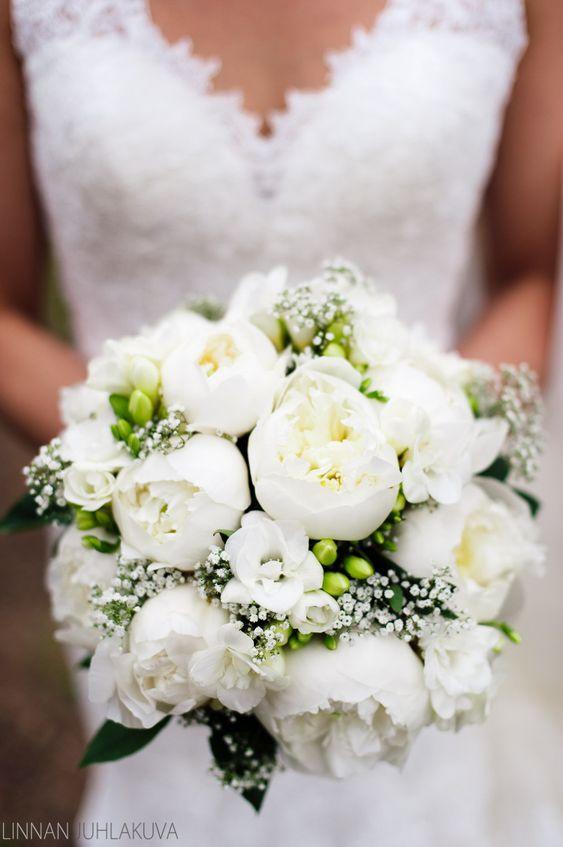 bouquet sposa peonie bianco
