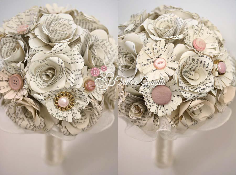 bouquet di carta bianco e rosa cipria