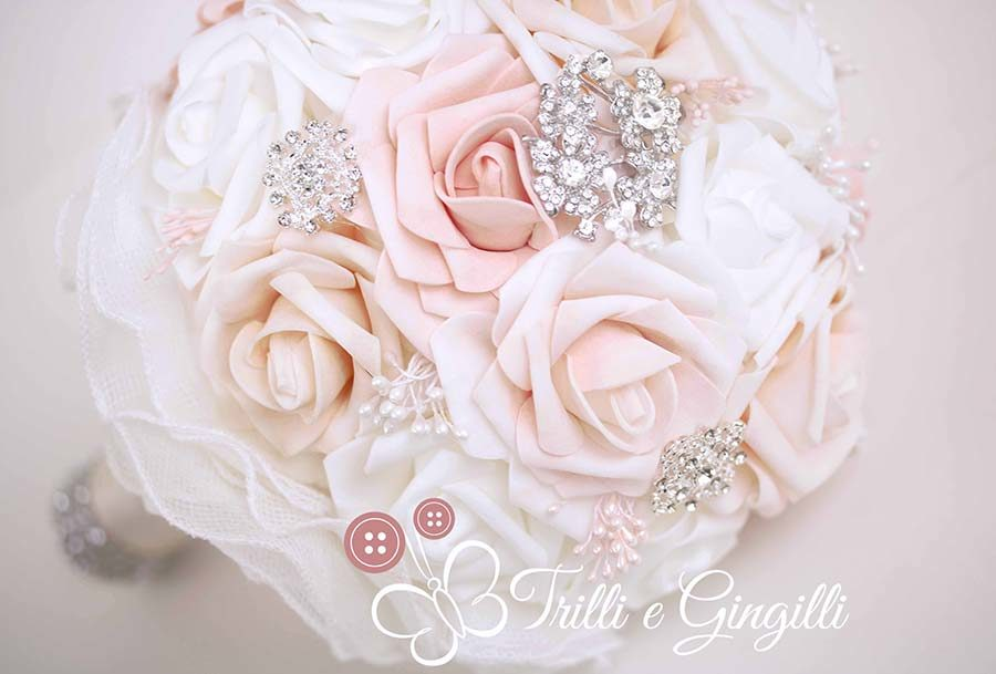 bouquet rosa cipria bianco