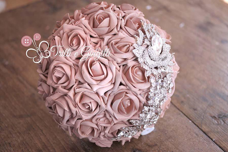 bouquet rosa cipria rose gioiello