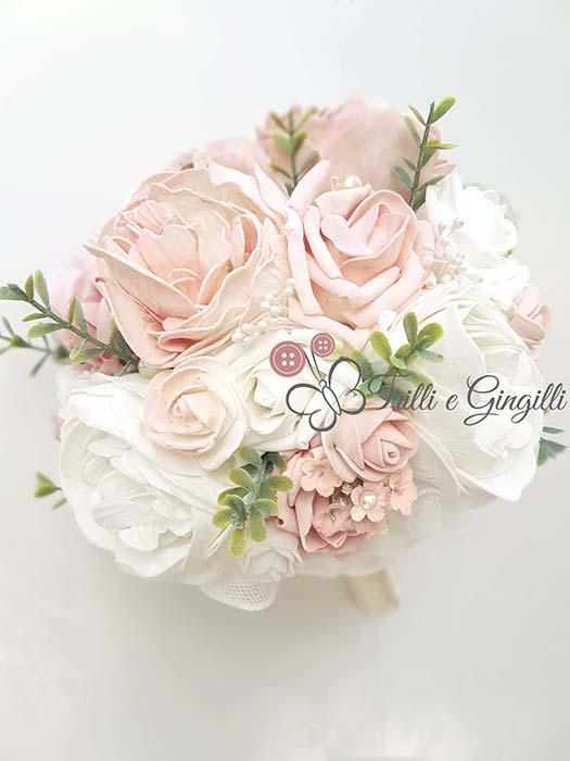 bouquet sposa rosa cipria e bianco