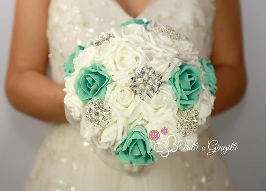 bouquet gioiello di rose tiffany e bianche