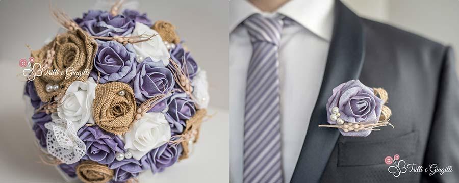 bottoniera sposo originale coordinata bouquet