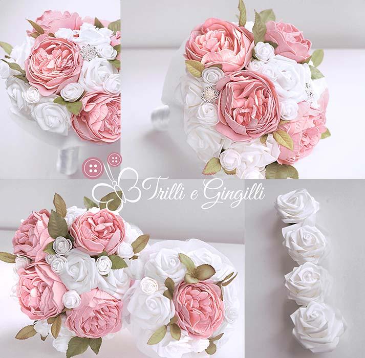 bouquet di peonie e rose pesca e bianche