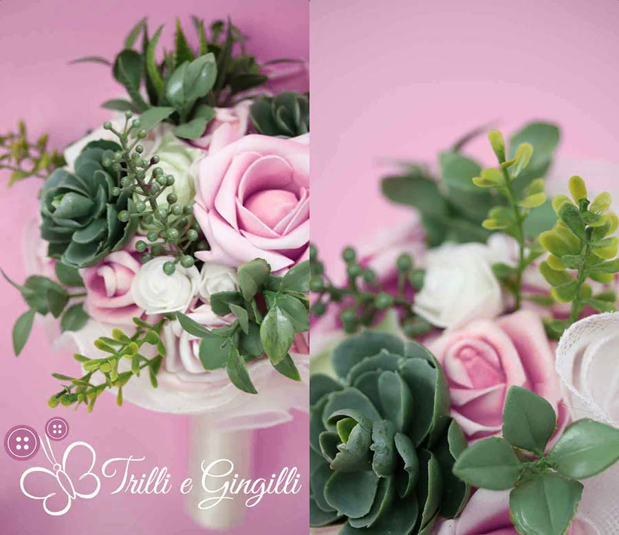 bouquet di piante grasse e rose