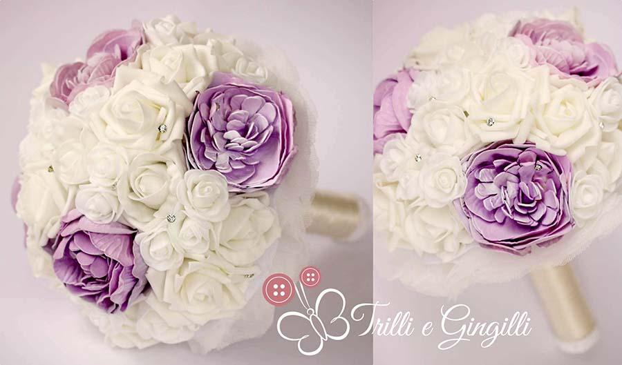 bouquet di peonie e rose lilla e bianche
