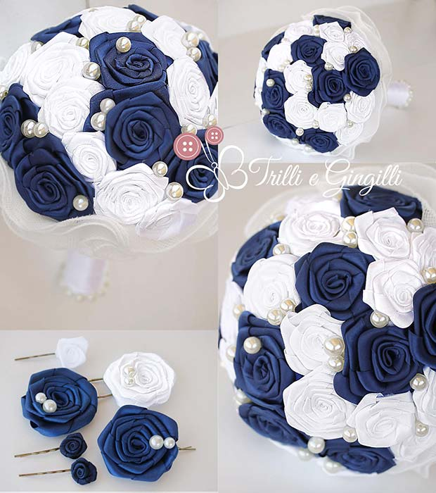bouquet di rose di raso blu e bianche con perle