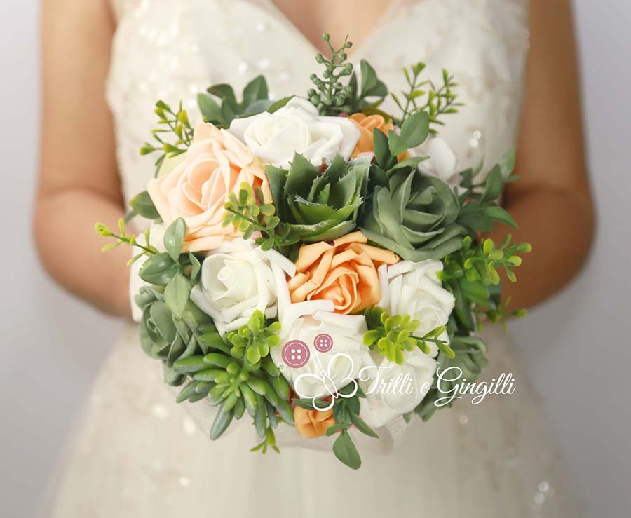 bouquet di succulente e rose