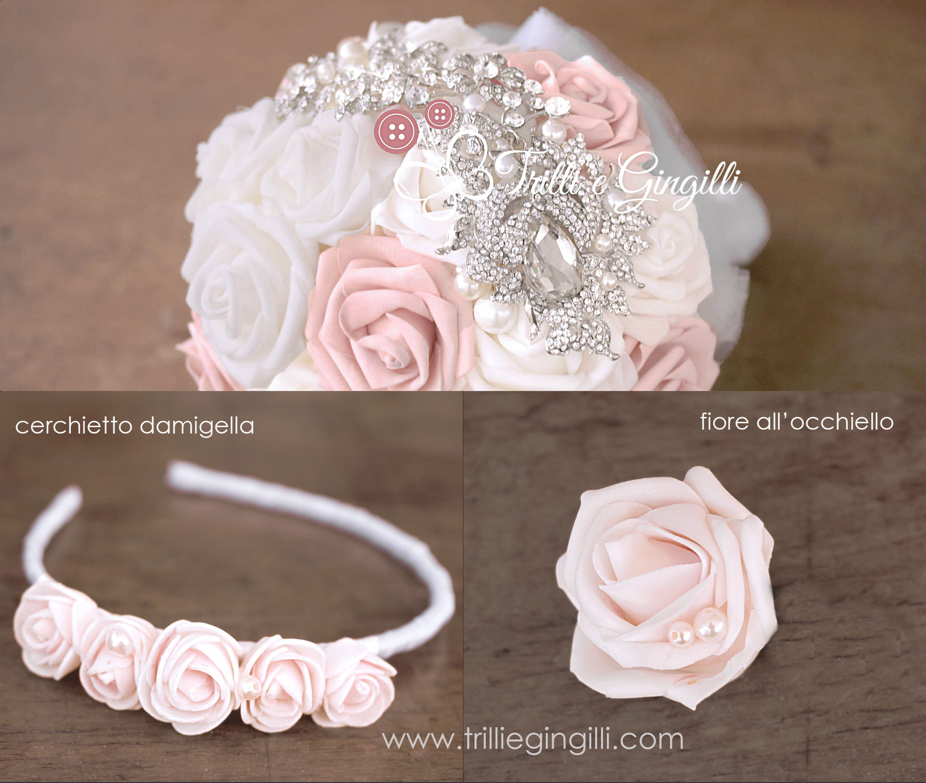 cerchietto damigella coordinato bouquet sposa