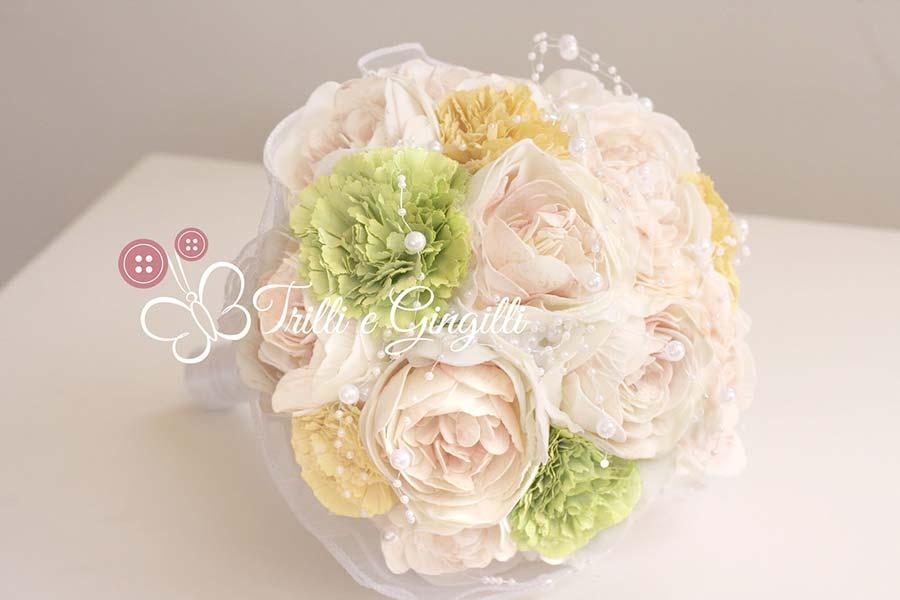 bouquet sposa verde peonie garofani