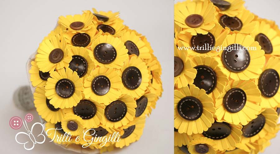 bouquet di girasoli con bottoni e carta