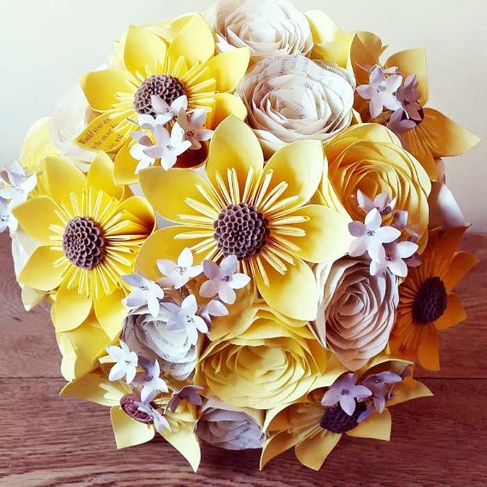 bouquet girasoli carta kusudama