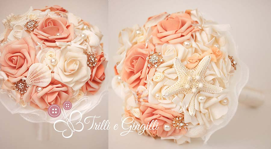 bouquet sposa color pesca