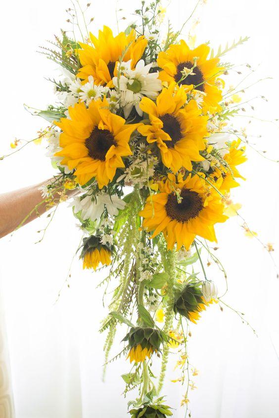 bouquet sposa girasoli a cascata