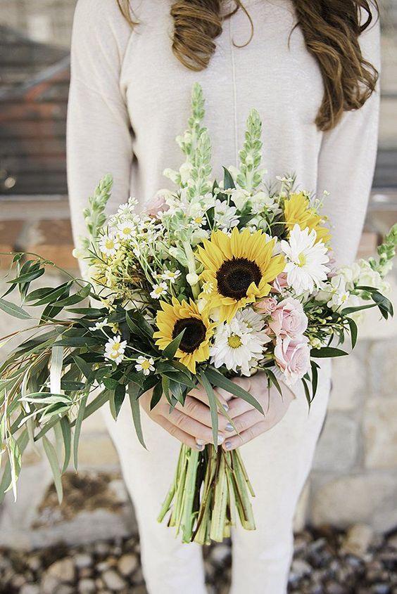 bouquet sposa girasoli fiori campo