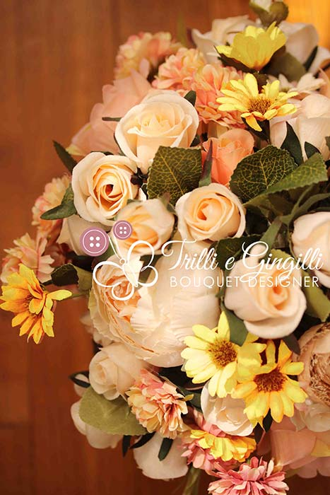 bouquet sposa girasoli rose peonie