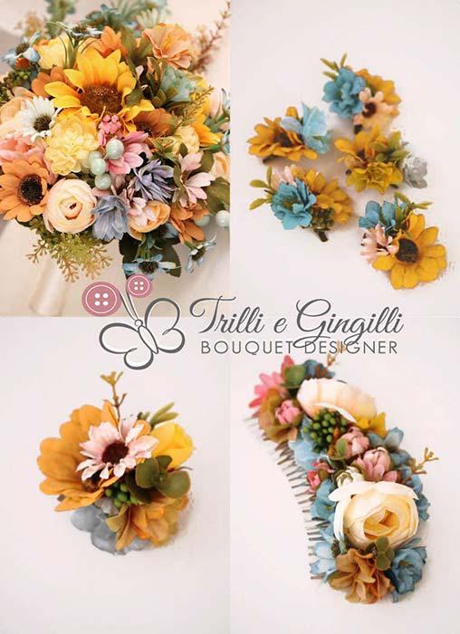bouquet sposa girasoli set coordinato