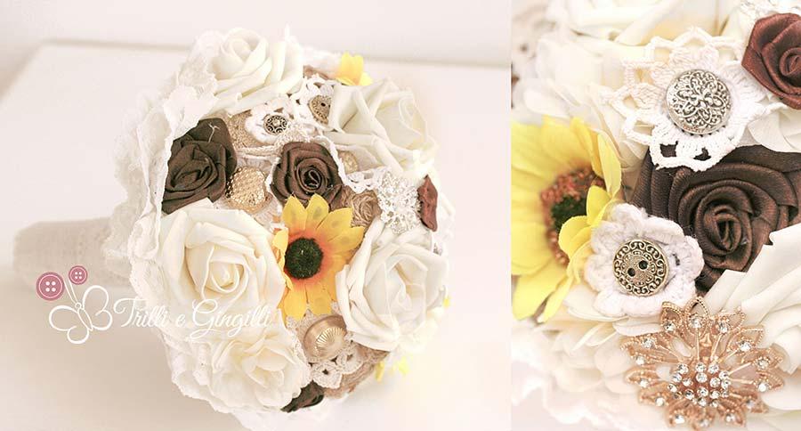 bouquet sposa con girasoli e rose bianche