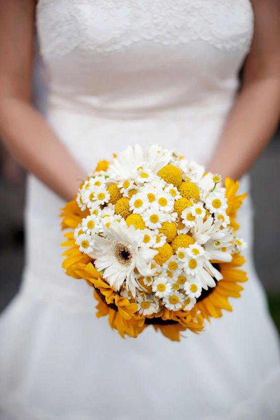 bouquet sposa margherite e girasoli