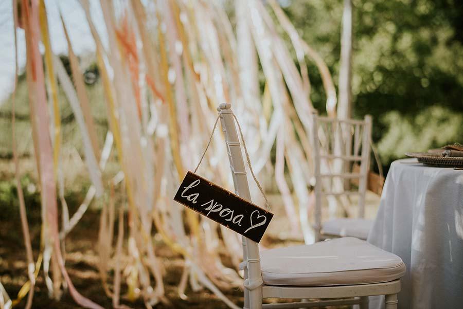 targa decorazione sedia sposi
