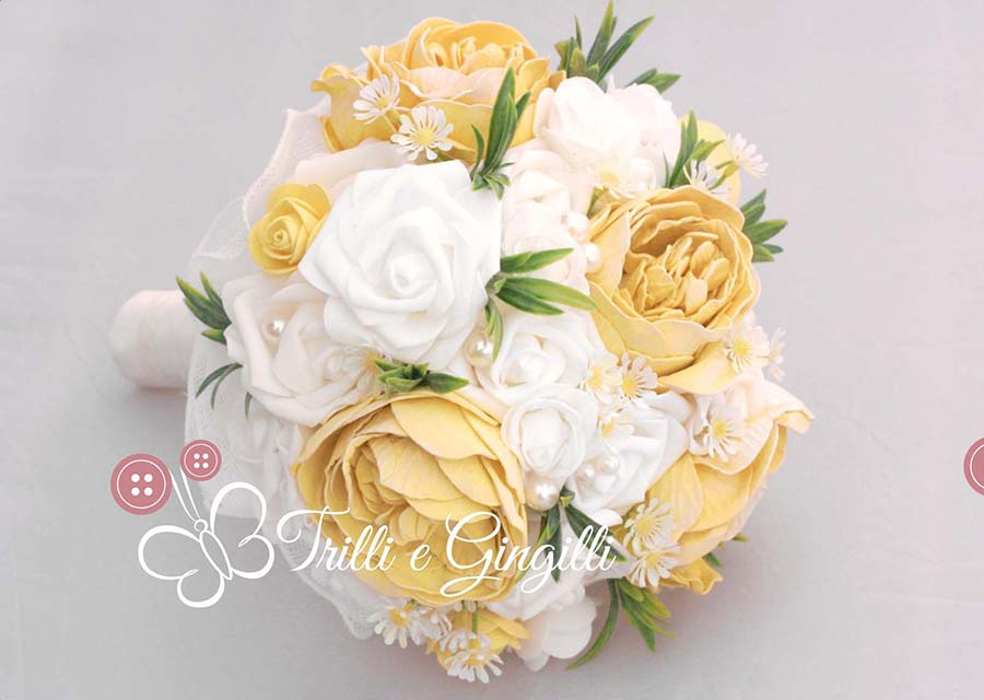 bouquet sposa hippie con margherite e rose