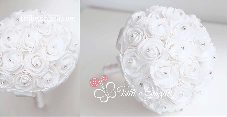 bouquet sposa di rose bianche con punti luce