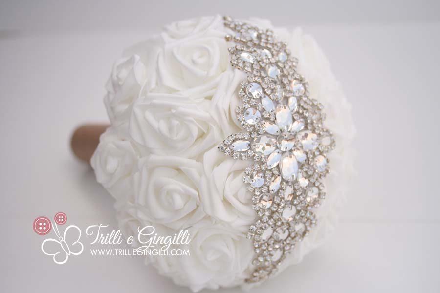 bouquet sposa con strass e swarovski