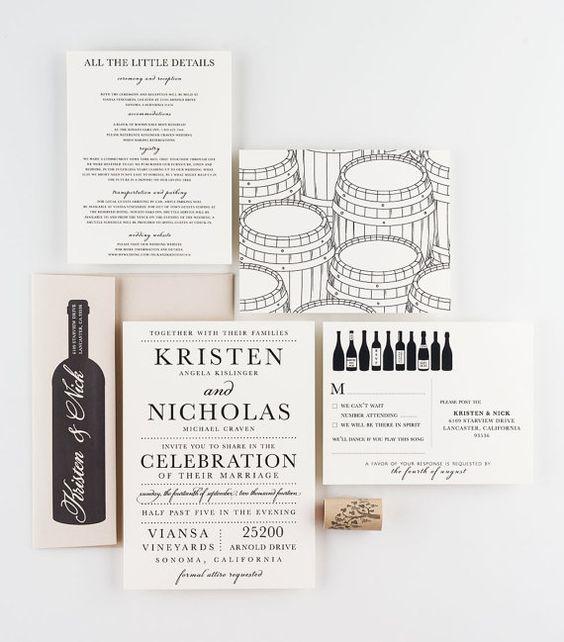 partecipazioni matrimonio tema vino moderne