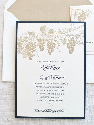 partecipazioni matrimonio tema vino con uva