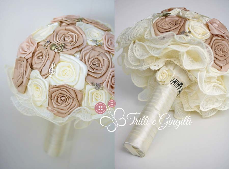 bouquet fiori finti rose di raso