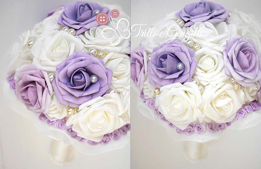 bouquet sposa fiori finti rose lilla