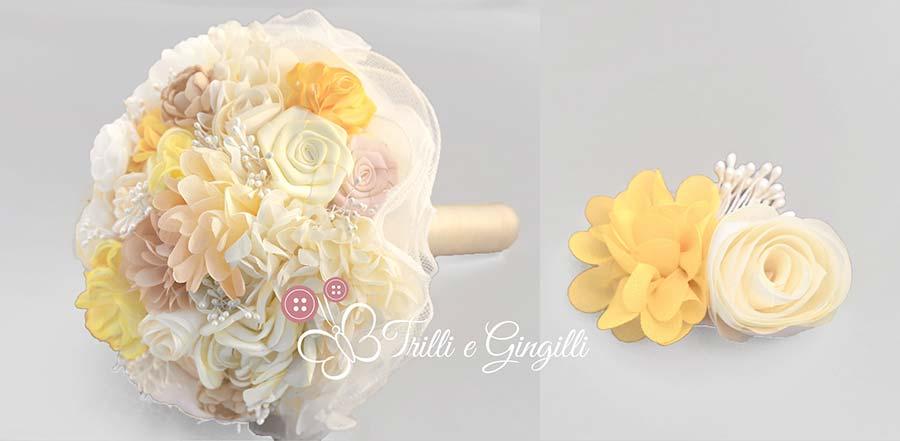 bouquet sposa di fiori finti stoffa