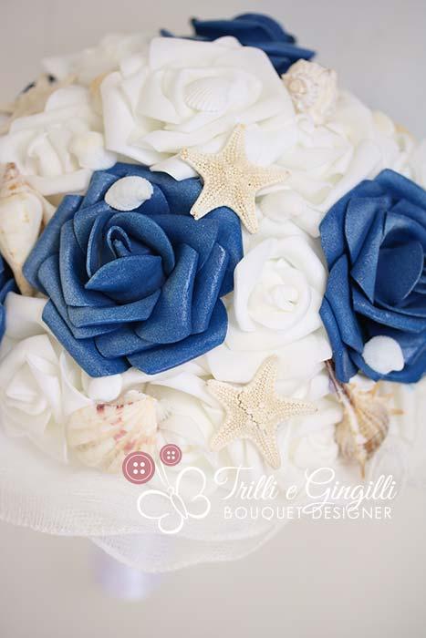 bouquet tema mare bianco e blu