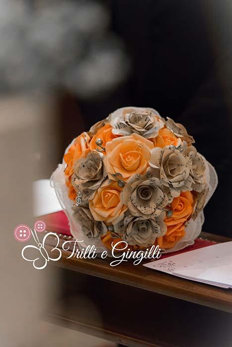 bouquet matrimonio tema musica arancione