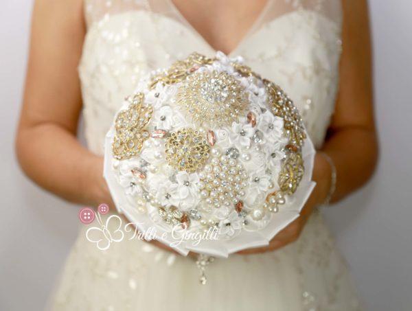 bouquet gioiello perle strass