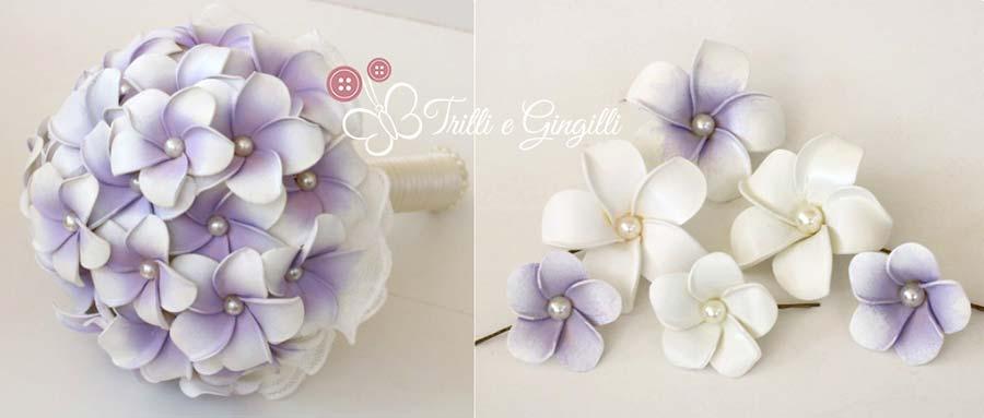 bouquet frangipani lilla e accessori