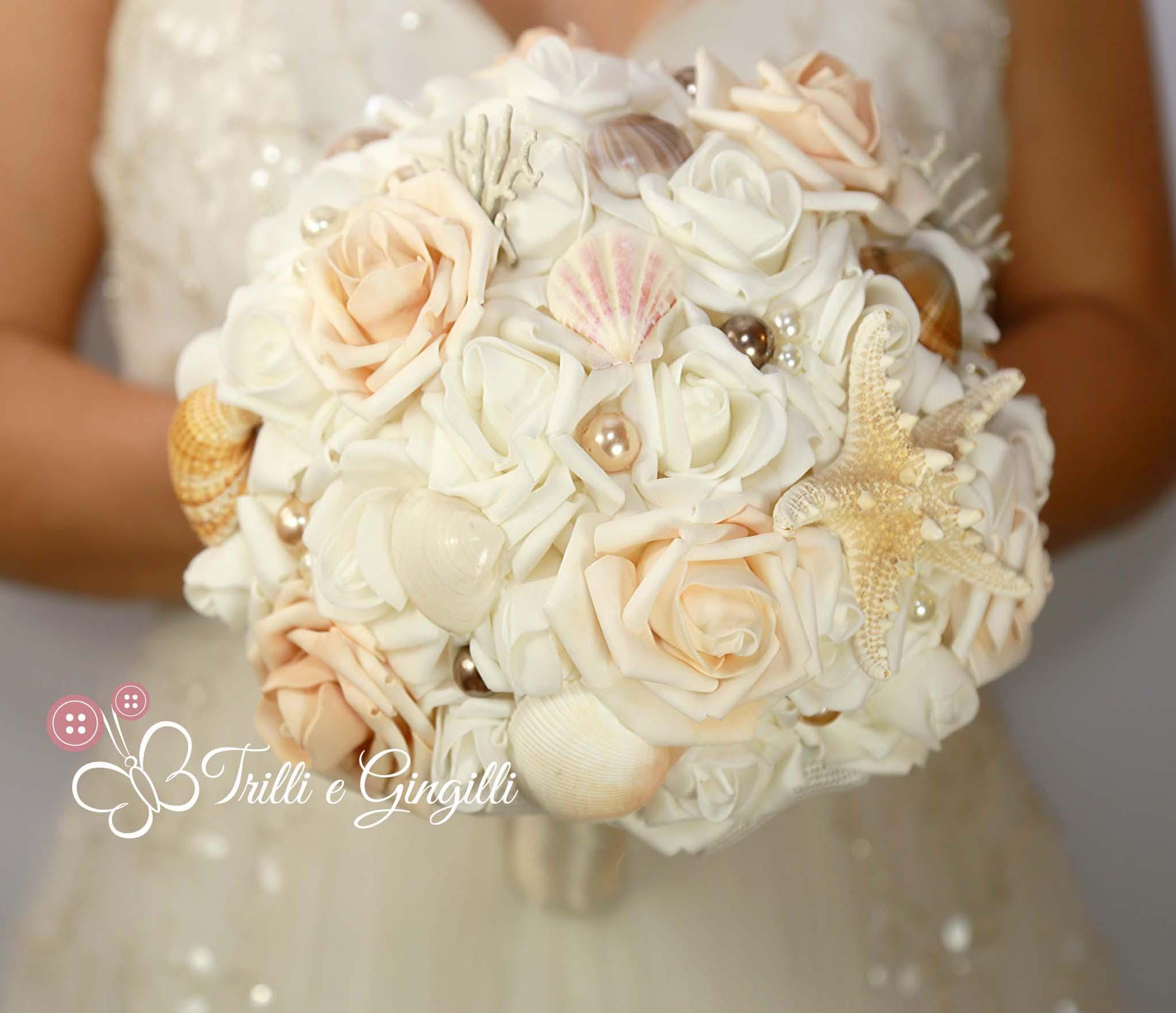 Bouquet Sposa Mare.Bouquet Di Rose Avorio Tema Mare